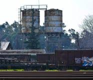 Trains détruits de cargaison Images stock