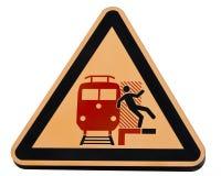 Trains dangereux de panneau d'avertissement de gare ferroviaire Photos stock