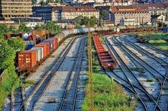 Trains de fret à la gare ferroviaire Photo libre de droits
