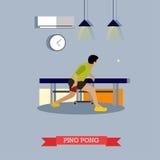 Trains de joueur de ping-pong dans le club Conception plate Photographie stock