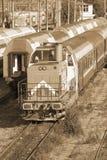 Trains de Roumain dans le dépôt images libres de droits