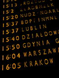 Trains departure board. In Warsaw main train station Royalty Free Stock Photos