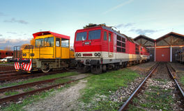 Trains in depot Royalty Free Stock Photos