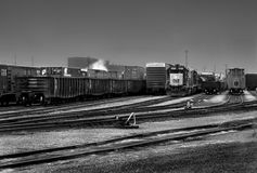 Trains in Detroit. A black & white image of trains at the Detroit railyard Stock Photography