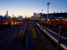 Trains at dusk Royalty Free Stock Photo
