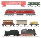 Trains. Ensemble de chemin de fer Images stock