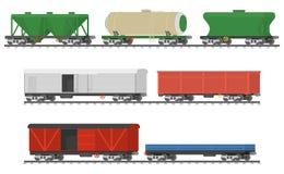Trains essentiels Collection de voitures ferroviaires de fret Photos stock
