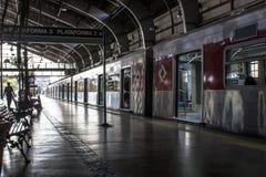 Trains et passagers à la plate-forme d'embarquement et de débarquement de la station de Julio Prestes Images libres de droits