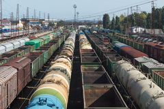 Trains of freight cars standing at the station , top view. Copy past Stock Photo