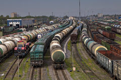 Trains of freight wagons in marshalling yard, Russia. Stock Photography