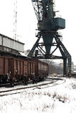Trains in freight yard winter Royalty Free Stock Image