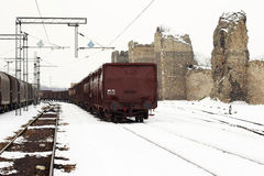 Trains in freight yard winter Royalty Free Stock Photos