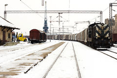 Trains in freight yard winter Stock Image