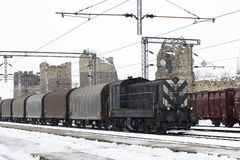 Trains in freight yard winter Stock Photography