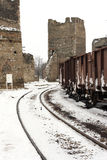 Trains in freight yard winter Stock Photos