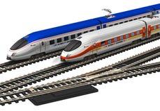 Trains à grande vitesse miniatures Photographie stock libre de droits