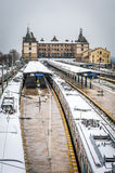 Trains in Haydarpasa train station in Istanbul, Turkey Royalty Free Stock Photography