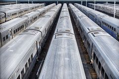 Trains In Hudson Yard. A set of New York City subway trains parked in Hudson Yards wait to be put into service Royalty Free Stock Photos