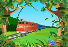 Trains in the jungle, floral frame vector stock photo