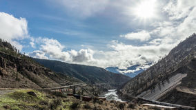 Trains Laboring through the Fraser Canyon Royalty Free Stock Photos