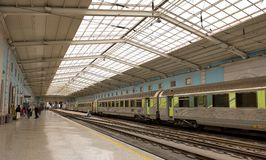 Trains in Lisbon before strike on 26th November Stock Photo
