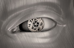 Trains mécaniques à l'intérieur de l'oeil d'un robot illustration de vecteur