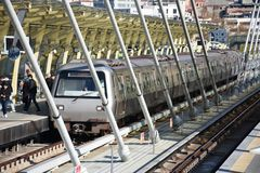 Trains in main station Ä°stanbul stock photography