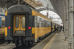 Trains in main station Prague Stock Photography