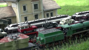 Trains at Maria Elend Railway Station. Models of different types of electric trains and steam  locomotives waiting at Maria Elend Railway Station stock video