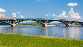 Trains on Metro Bridge over Dnieper in Kyiv, Ukraine Stock Photography