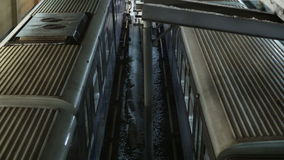 Trains at metro station in Moscow. Top view of two trains leaving Moscow metro station one after another stock footage