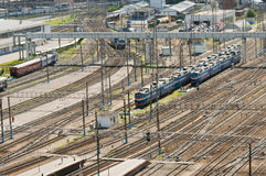 Trains in Moscow raiway station Stock Images