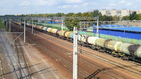 Trains moving at train station. Time lapse. Lyubertsy, Moscow region,Russia - 06 september 2014. Trains moving at train station. Time lapse stock video footage