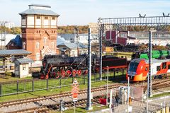 Trains near station Podmoskovnaya of Moscow royalty free stock image