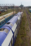Trains new and old. Train station with wagons new and old Royalty Free Stock Image