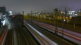 Trains at Night Stock Image