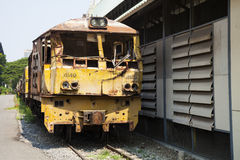 Trains old and moldy on the old railway Royalty Free Stock Photography