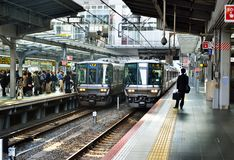 Trains, Osaka Station Image stock