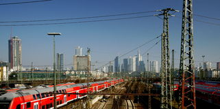 Trains Outside Frankfurt's Terminal Royalty Free Stock Photos