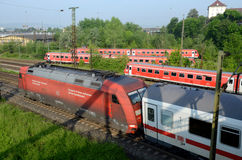Trains Outside Ulm´s Terminal Stock Photos