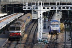 Trains in Paris Saint Lazare station Stock Images