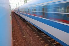 Trains pass by. With motion blur Royalty Free Stock Image