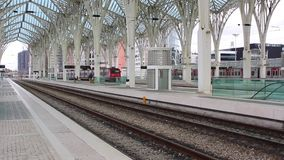 Train Station. Trains passing in modern Train Station stock video