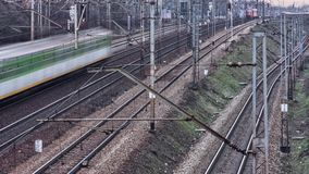 Trains on the platform time lapse. NTrains in Europe. 4k Time lapse stock footage