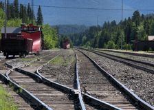 Plows on a track. Trains with plows on tracks Royalty Free Stock Photo