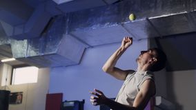 Trains professionnels de boxeur de sportif avec de la balle de tennis dans le gymnase clips vidéos
