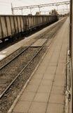 Trains on railroad Stock Photo