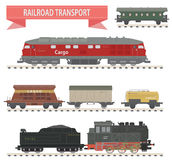 Trains. Railroad set Stock Images