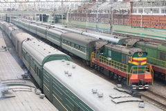 Trains on rails Stock Image