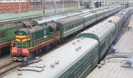 Trains on rails Royalty Free Stock Photo